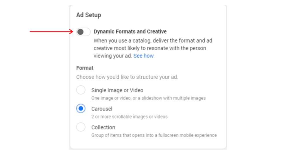 Screenshot showing the toggle for dynamic ad formats.